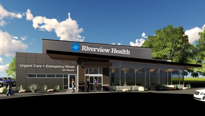 Artist's rendering of what the new Riverview Health freestanding emergency rooms with urgent care centers might look like.