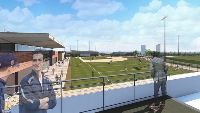 A rendering shows a new administrative terrace at  Maryvale Baseball Park. The Milwaukee Brewers will spend about $60 million on upgrades to their Spring Training facility in the next year.