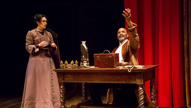 "Ken Early, right, stars as Ira Aldridge in the Ensemble Theatre Cincinnati production of ""Red Velvet."" He's seen here with Becca Howell, who plays a young Polish reporter trying to interview him. The show runs through March 31. Aldridge was a 19th Century British-American actor who was, according to ETC, the first African-American actor to play the role of Othello on an English stage."