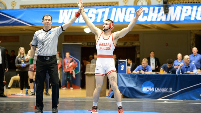 Austin Bethel played third at 149 pounds for Wabash Valley in the 2018 NCAA DIII National Championship Tournament in Cleveland, Ohio.