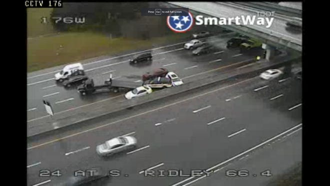 A multi-vehicle crash involving a Tennessee Highway Patrolcruiser is blocking lanes on I-24 E at Sam Ridley Parkway in Smyrna.