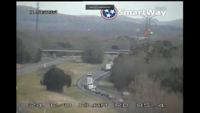 A traffic camera covering Interstate 24 eastbound at Elam Road shows the lack of traffic moving westbound from mile maker 88 near the Epps Mill Road accident after a crash.