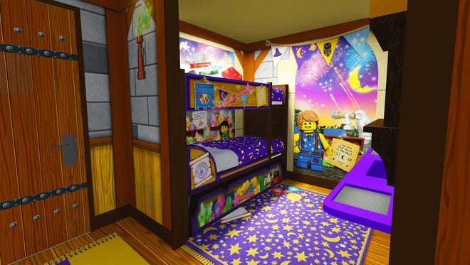 The sleeping quarters for children inside the Wizard Room at the Legoland Castle Hotel.