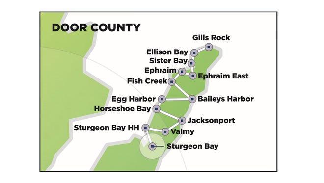 Map of Door County Nsight fiber route