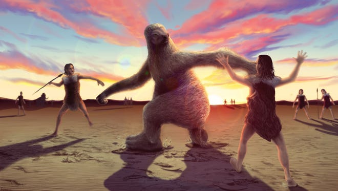 An artist's conception of a battle between ancient humans and a giant sloth. It's based on the fossil footprint evidence showing how human hunters stalked giant ground sloth to distract them before trying to land a killing blow.