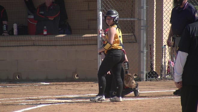 Red Lion shortstop Taylor Radziewicz prepares to hit against Central York on Thursday.
