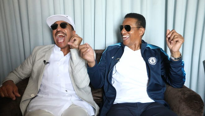 Marlon and Jackie Jackson, speak about the Jackson 5 headlining the Detroit Music Weekend during a press event at the Music Hall Center for Performing Arts in Detroit on Thursday, May 17, 2018.