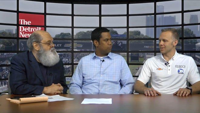 Gregg Krupa, from left, John Niyo and IndyCar driver Ed Carpenter talk about the Detroit Grand Prix on Belle Isle on June 2-3.