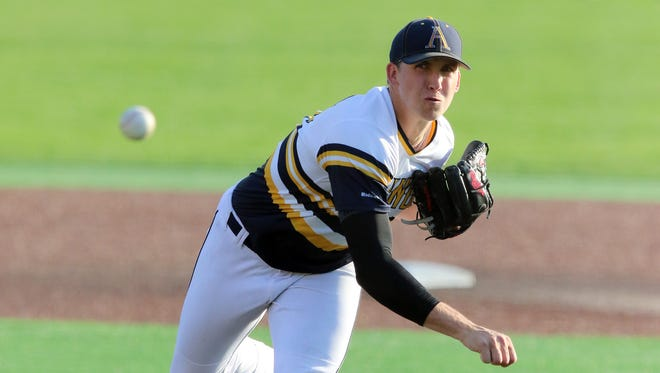Augustana right-hander Tyler Mitzel is undefeated in his first and only season with the Vikings
