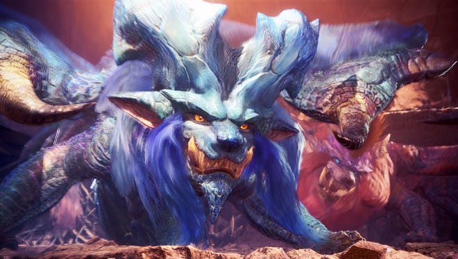 Lunastra defends Teostra in this scene from Monster Hunter World.