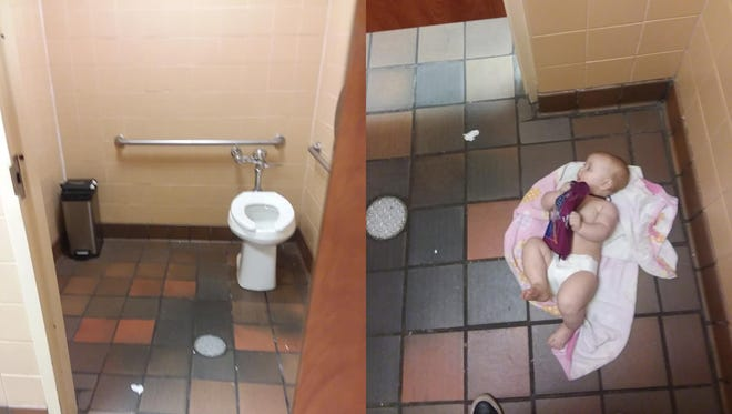 A frustrated dad vents on Facebook about the lack of baby changing stations in men's bathroom (especially at kid-friendly businesses) in a viral post.