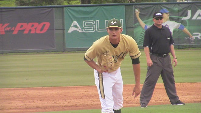 South Florida junior and Cape Coral graduate Shane McClanahan works in the first inning of Saturday's NCAA Tournament elimination game against Hartford. McClanahan is projected to be taken on the first day of the 2018 MLB Draft Monday.