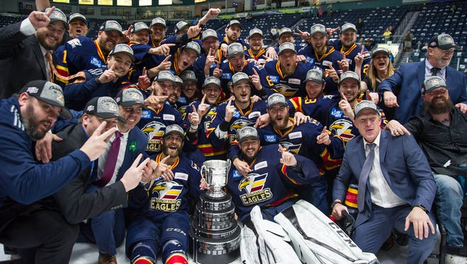 The Colorado Eagles celebrate their second straight Kelly Cup title.