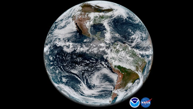 The Earth's Western Hemisphere is captured on May 20, 2018, from aboard NOAA's new GOES-17 satellite. The agency may shift its mission away from climate and climate research, according to a report from the Union of Concerned Scientists.