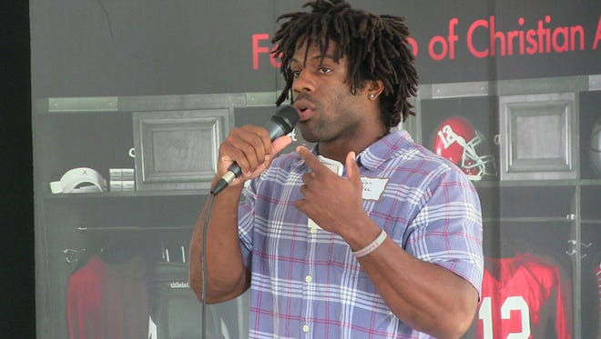 Glen Coffee, a former star at Alabama who played in the NFL and now works for the Crimson Tide, spoke at a Fellowship of Christian Athletes outing Monday at Wynlakes Golf and Country Club in Montgomery.