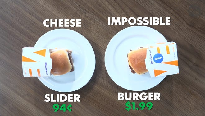 White Castle's Impossible Slider (right) and a cheese slider (left)