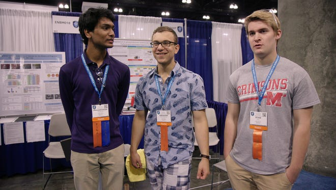 """Science Fair"" follows the lives of high school students who compete in the International Science and Engineering Fair. Here, Kentucky teens Ryan Folz, Harsha Paladugu, Abraham Riedel-Mishaan get ready to present their project, with varying levels of nerves."