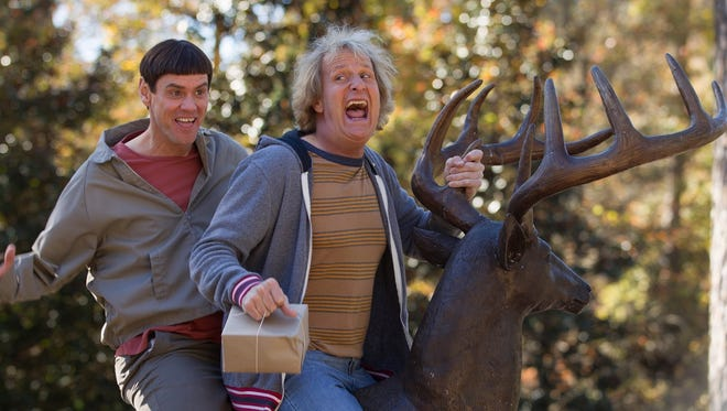 "Stars Jim Carrey, left, and Jeff Daniels takes sips out of Pisgah Brewing pint glasses in ""Dumb and Dumber To."""