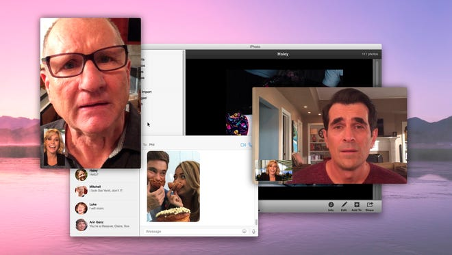 """From left, Claire Dunphy, Jay Pritchett, and Phil Dunphy, in a scene from the episode, """"Connection Lost,"""" of """"Modern Family."""" ABC's """"Modern Family"""" airs an episode on Wednesday, Feb. 25, 2015, at 9 p.m. EST that takes place entirely online."""