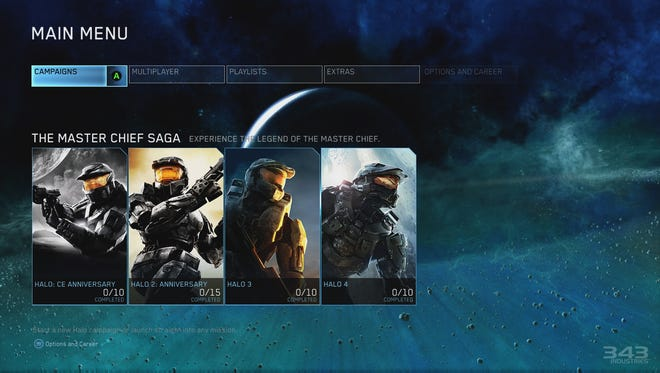 Menu for the new video game 'Halo: The Master Chief Collection,' showing all four previous 'Halo' games starring the Master Chief character.