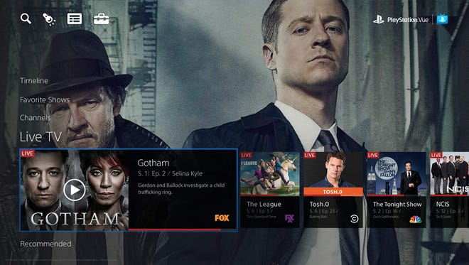A menu within Sony's upcoming PlayStation Vue cloud TV service showing Live TV programs available.