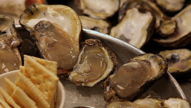 Freshly-shucked oysters at Borgne restaurant in New Orleans. Oysters are available year-round, but historically they're known to be in season in November and December.