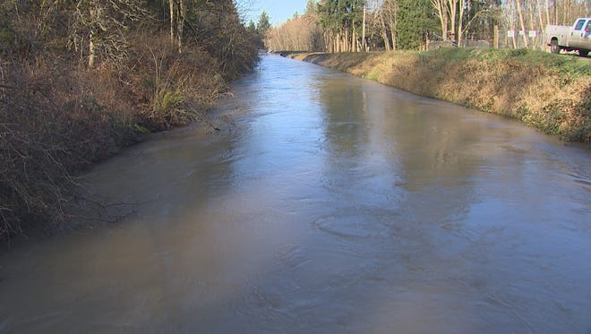 An unidentified woman was rescued from a canal in Yelm, Wash., after a Nov. 30, 2014, crash that left her car filling with water.