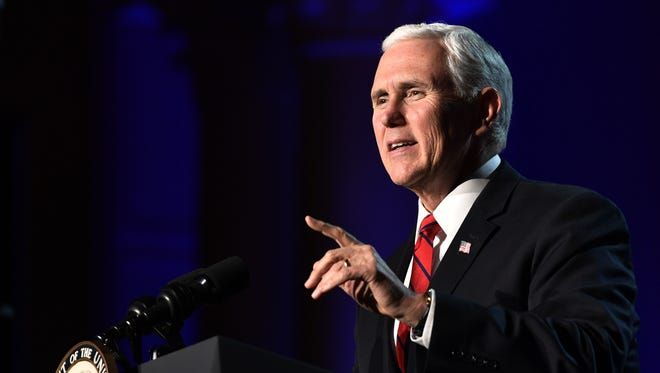 Vice President Mike Pence speaks to the National Religious Broadcasters' 75th Annual Convention at Gaylord Opryland Resort & Convention Center Tuesday Feb. 27, 2018, in Nashville, Tenn.