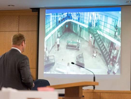 Prosecutors on Wednesday show surveillance video during the trial of Robert Hunt, who was accused of fatally stabbing a fellow Century Correctional Institution inmate to death in 2017. A jury convicted Hunt after less than a hour of deliberation.