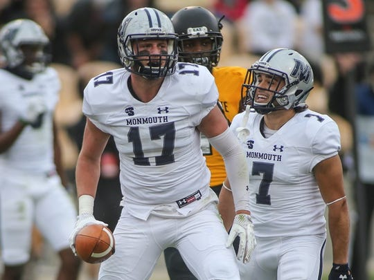 Monmouth tight end Jake Powell (17) and receiver Vinny Grasso (7) celebrate after Powell's first-half touchdown against Kennesaw State on Saturday.
