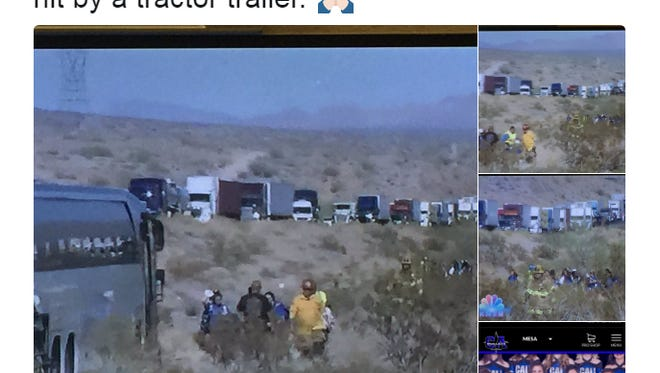A big rig struck a charter bus full of Phoenix cheerleaders on Thursday, June 29, in California. Four people suffered minor injuries.
