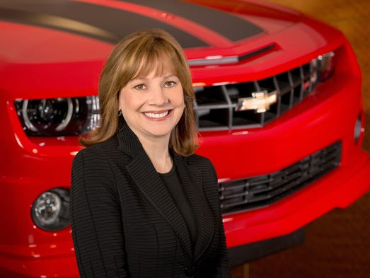 General Motors CEO Mary Barra with the Chevrolet Camaro