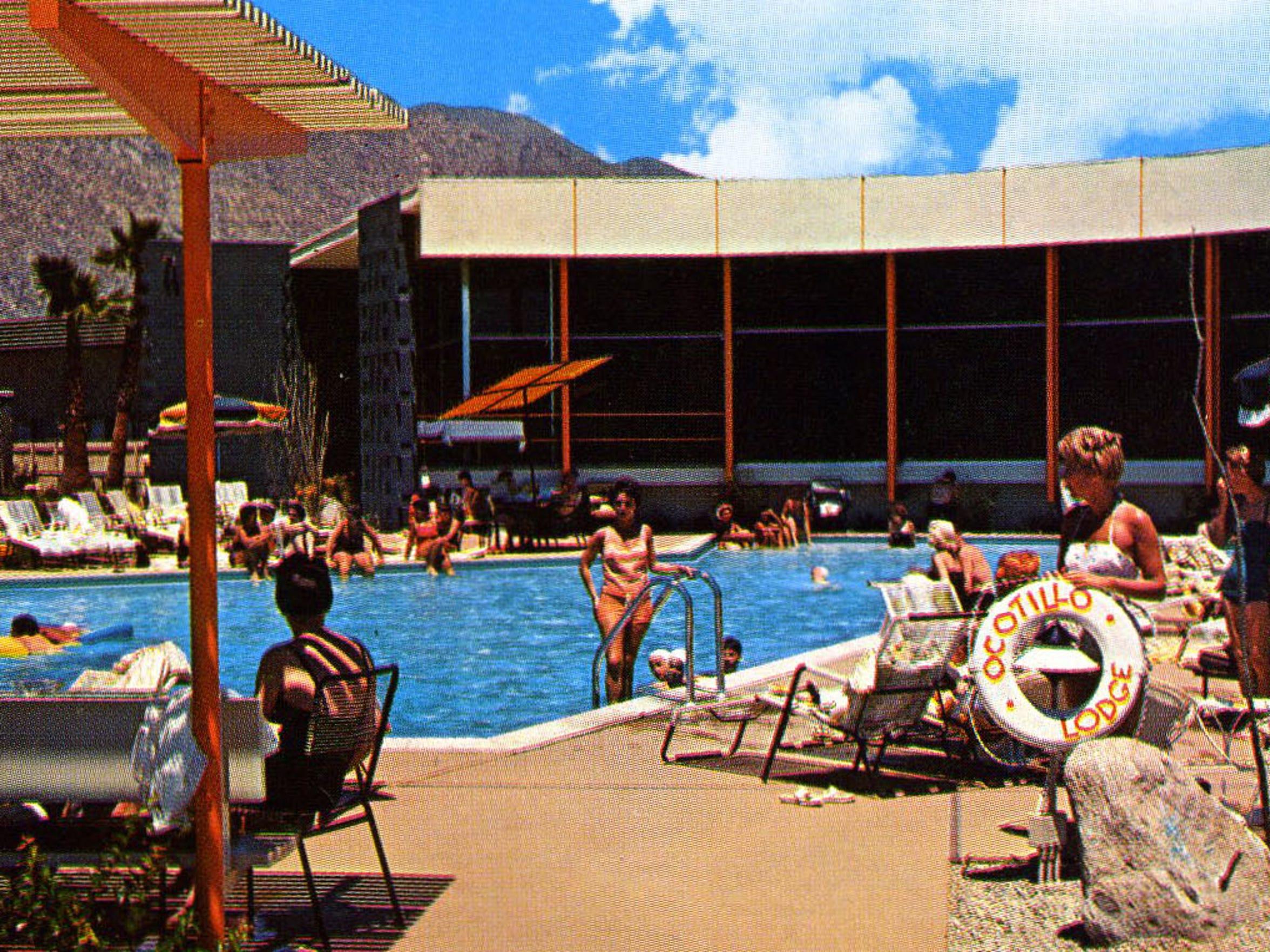 Ocotillo Lodge's pool area, circa 1960.