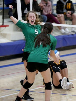 Central Christian's Emerie Boman (5) and the Cougars are headed to Emporia on Saturday for the Class 1A Division II state tournament.