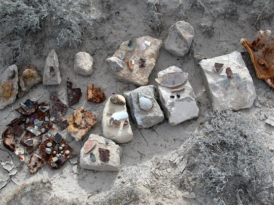 Artifacts from Butterfield's Crow Spring Station near Dell City, Texas, are seen in this photo from the author.