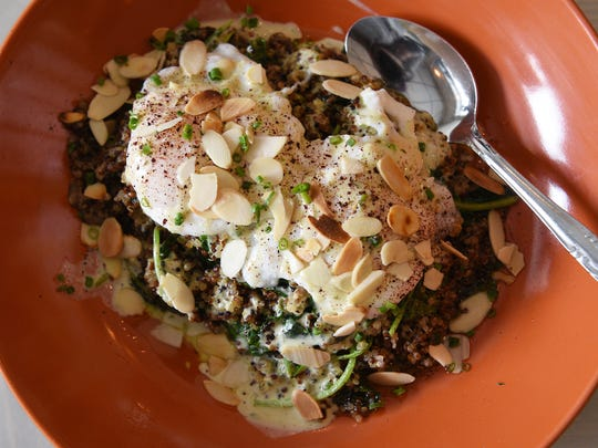 The Record's food editor Esther Davidowitz and chef Ariane Duarte go on a food crawl through Montclair, NJ on Thursday November 09, 2017. Quinoa breakfast at Marcel Bakery.