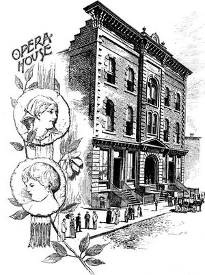 """Early 1890s view of the Staunton Opera House, from the promotional publication """"Staunton, Virginia: Its Past, Present and Future."""" Renovations in 1930 destroyed most of its original architectural features."""