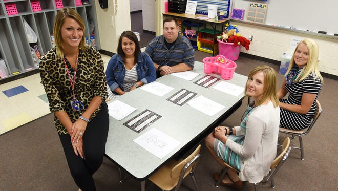 Maysville Local Schools welcomes 10 new teachers this school year, including elementary school teachers Megan McCulley, left, Kortney Musgrave, Kail Musgrave, speech therapist Sommer Mullins, front right, and Bridgett Neighbors, right rear.