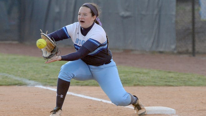 Addison Harris makes a catch at first base for Enka on Wednesday in Candler.