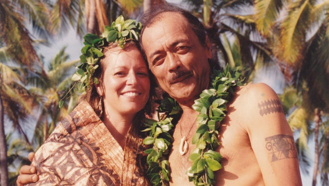 """Lokelani"" Keihanaikukauakahihuliheekahaunaele shows Keihanaikukauakahihuliheekahaunaele, left, and her husband Keihanaikukauakahihuliheekahaunaele at their wedding in Honaunau-Napoopoo, Hawaii 1992."