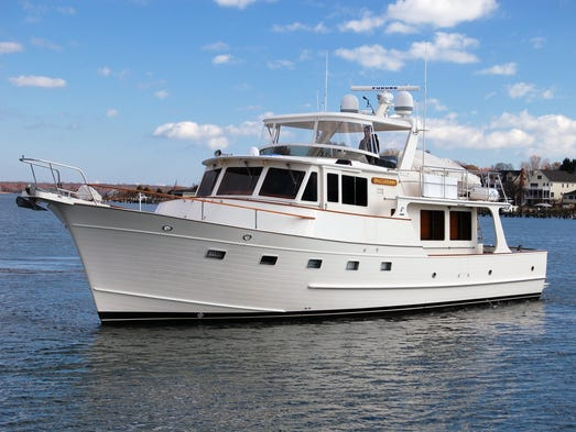 The Fleming 55 has a charmingly flared bow and a semi-displacement
