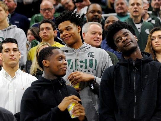 Michigan State basketball target Josh Jackson, right,