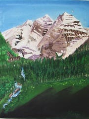 """Dawn at the Maroon Bells. A lovely sight in the morning in Colorado. Painting by Patricia Fischer. 15-1/2"""" x 20"""" oil $300"""