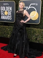 Gwendoline Christie hits the red carpet at the 2018 Golden Globe Awards ceremony in Beverly Hills, Calif.