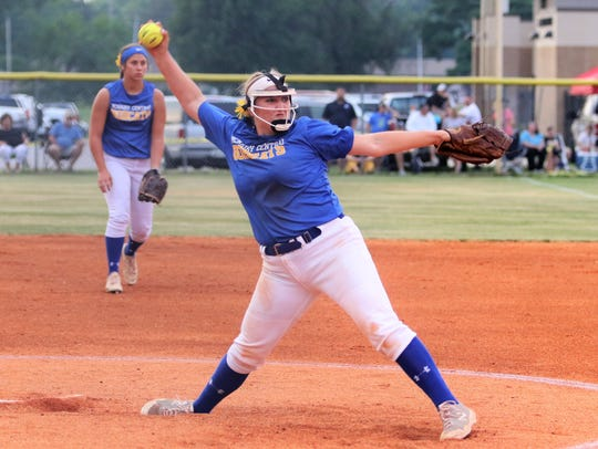 Katie Turner throws a pitch during McNairy Central's
