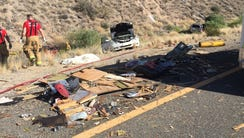 The aftermath of a collision involving up to 20 vehicles