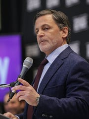 Quicken Loans founder and chairman Dan Gilbert speaks during a press conference at One Detroit Center in downtown Detroit on Tuesday March 31, 2015.