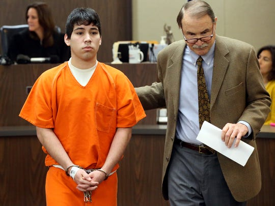 Elishah Trevino attends his arraignment after he was charged with capital murder in killing of man found dead in his home on Thanksgiving on Thursday, March 2, 2017, at the 347th District Court in Corpus Christi.