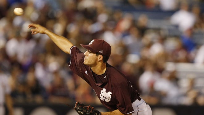 Mississippi State pitcher Dakota Hudson delivers a pitch against LSU during the Southeastern Conference tournament last week.