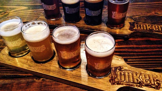 Beer flights are a great way to sample the beer selections at at Yonkers Brewing Co.